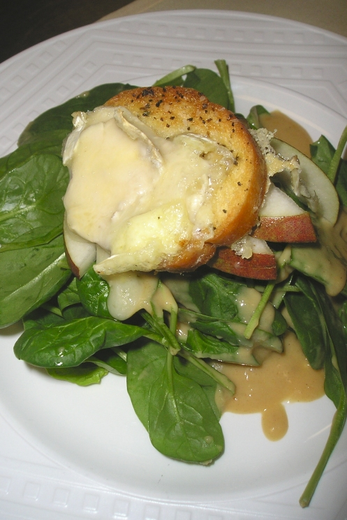 Baby Spinach, Vanilla Bean-Roasted Sweet Onions, Red Pear, Warm Brie Crouton;