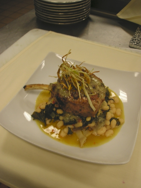 'Pork & Beans'- Grilled Bone-In Pork Chop with a Benton's Bacon-Sage Gravy;