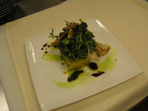 Sauteed Gulf Pompano with a Roasted Shitake Vinaigrette; Asparagus Bread Pudding with Caramelized Onions & Laura Chenel's Goat Cheese, Baby Arugula