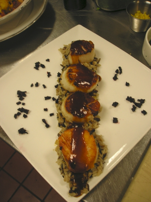 Pan-Seared Jumbo Scallops with an Abita Root Beer Glaze; Toasted Pecan-Wild Rice Pilau, Candied Beets