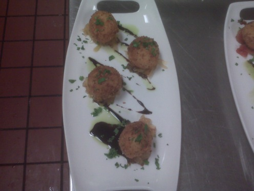 fontina risotto fritters, tomato-fennel marmalade; balsamic syrup